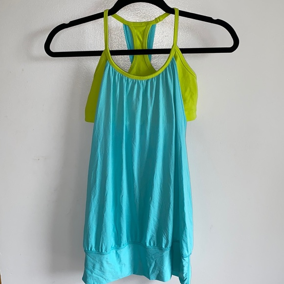 Lululemon No Limits Teal and Lime Tank Top